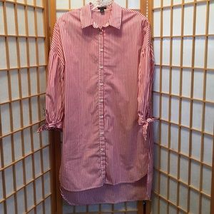 Ann Taylor Shirt Dress with Ties on sleeves